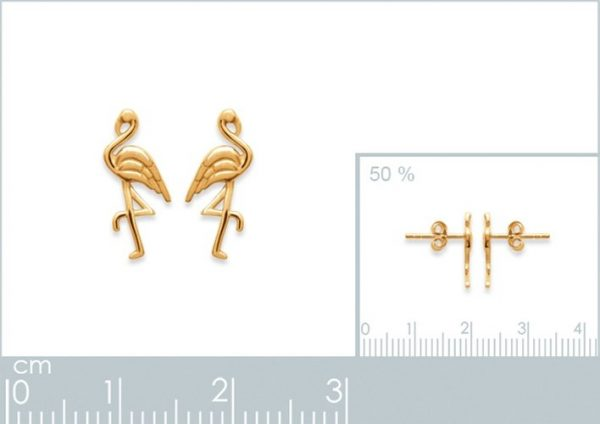 Amanto Oorbellen Fiza - Dames - 925 Zilver Goudverguld - Flamingo - 8x13 mm-24089