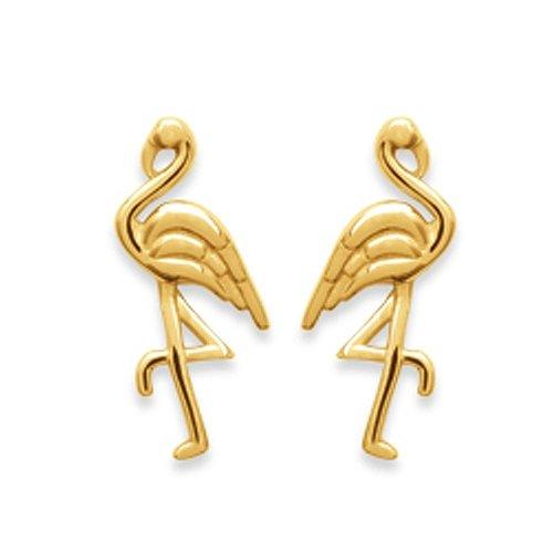 Amanto Oorbellen Fiza - Dames - 925 Zilver Goudverguld - Flamingo - 8x13 mm-0