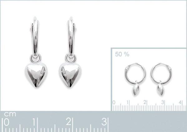Amanto Oorbellen Fiona - Dames - Zilver Gerhodineerd - Oorring - Hartje - ∅12 mm-24049