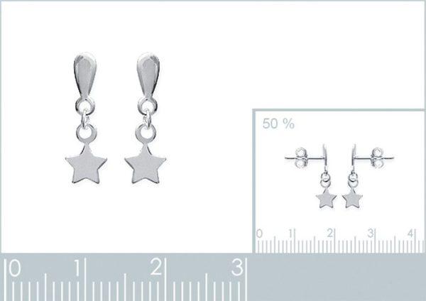 Amanto Oorbellen Finia Large - Dames - Zilver Gerhodineerd - Ster - 5x15 mm-24034