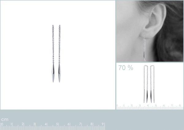 Montebello Oorbellen Chra - 925 Zilver Gerhodineerd - Doortrek - 90x2mm-23815