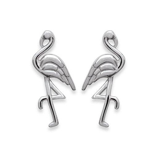 Amanto Oorbellen Fiza - Dames - 925 Zilver Gerhodineerd - Flamingo - 8x13 mm-0