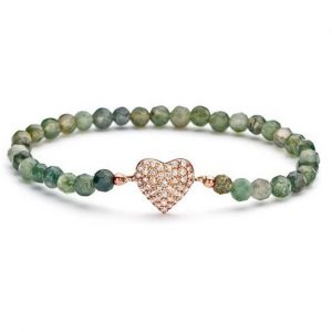 Montebello Armband Wyona Green - Dames - 925 Zilver Roséverguld - Zirkonia - Hartje - Rek-0