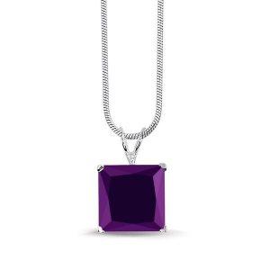 Montebello ketting Vana Purple - Dames - Zilver Gerhodineerd - Zirkonia - 10x10 mm - 42 cm-0
