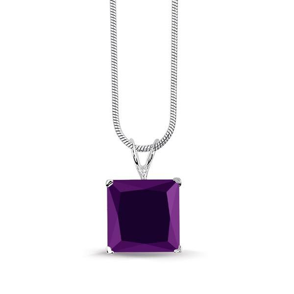 Montebello ketting Vana Purple - Dames - Zilver Gerhodineerd - Zirkonia - 10x10 mm - 42 cm-0