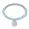 Montebello Armband Willow Blue - Dames - 316L Staal - Jade - Levensboom - 18 cm (Rek)-0