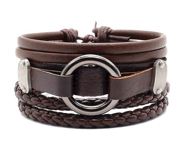 Montebello Armbanden Beata Brown - Unisex - Leer - 316L Steel - 3-delig-0