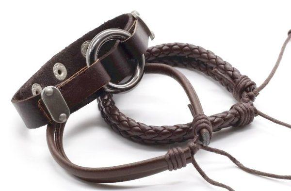 Montebello Armbanden Beata Brown - Unisex - Leer - 316L Steel - 3-delig-23903