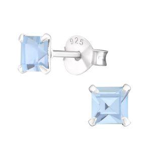 Amanto Oorbellen Flynn Blue Light - Dames - 925 Zilver - Zirkonia - Vierkant - ∅4 mm-0