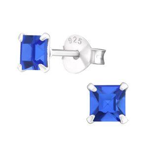 Amanto Oorbellen Flynn Blue - Dames - 925 Zilver - Zirkonia - Vierkant - ∅4 mm-0