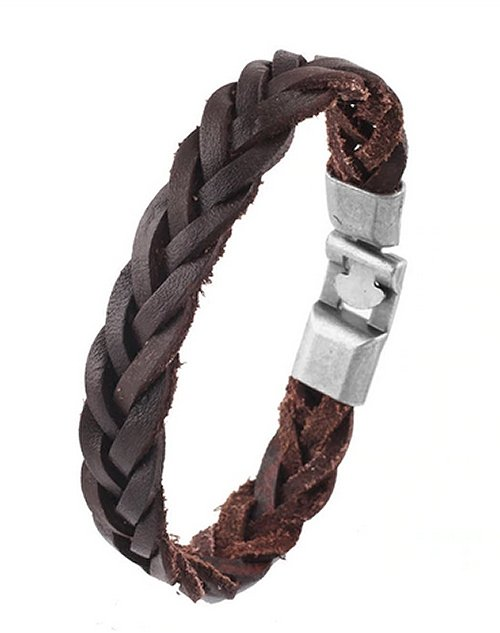 Montebello Armband Karel Brown - Heren - Pu Leer - Messing - 21 cm-0