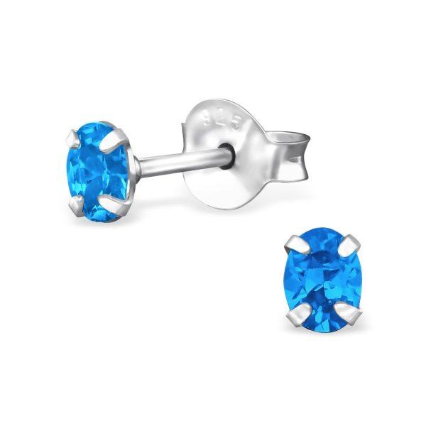 Amanto Oorbellen Foke Dark Blue - Dames - 925 Zilver - Zirkonia - Ovaal - 3x4mm-0