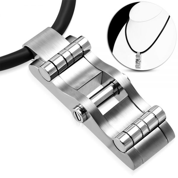 Amanto Ketting Gerald B - Heren - 316L Staal PVD - Rubber - 50x19 mm - 51 cm-0