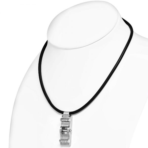 Amanto Ketting Gerald B - Heren - 316L Staal PVD - Rubber - 50x19 mm - 51 cm-24793