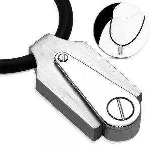 Amanto Ketting Gerald C - Heren - 316L Staal PVD - Rubber - 38x18 mm - 51 cm-0