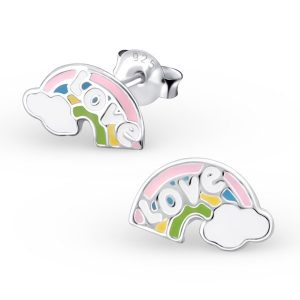 Amanto Kids Oorbellen Gaitlin - Meisjes - 925 Zilver E-Coating - Epoxy - Regenboog - 10x6 mm-0