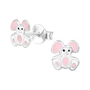 Amanto Kids Oorbellen Fuka Pink - Meisjes - 925 Zilver E-Coating - Konijntje - 6x6 mm-0