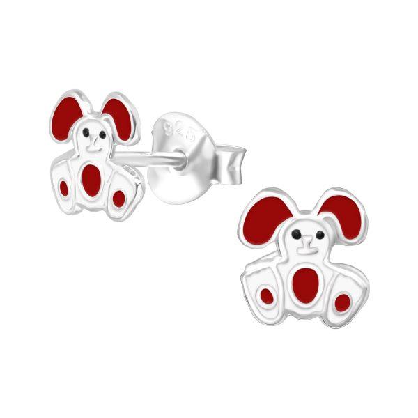 Amanto Kids Oorbellen Fuka Red - Meisjes - 925 Zilver E-Coating - Konijntje - 6x6 mm-0