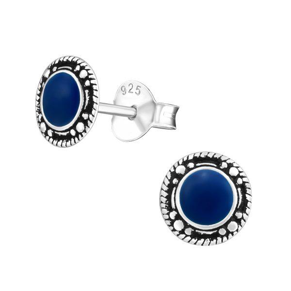 Amanto Oorbellen Frankie Dark Blue - Dames - 925 Zilver - Epoxy - Rond - ∅7 mm-0