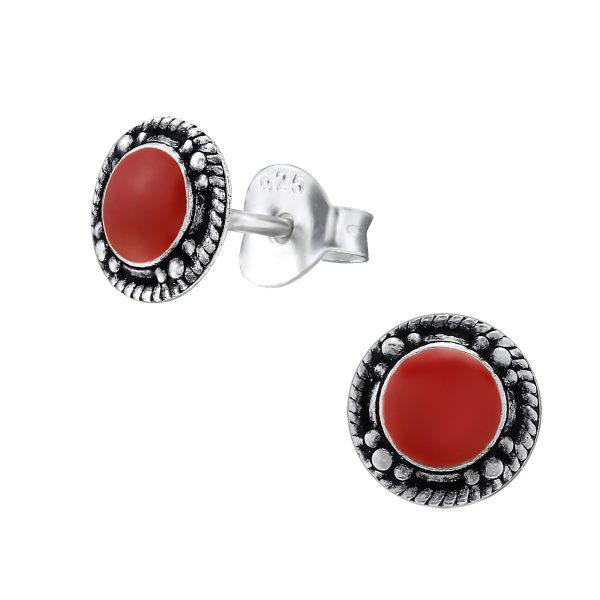 Amanto Oorbellen Frankie Red - Dames - 925 Zilver - Epoxy - Rond - ∅7 mm-0