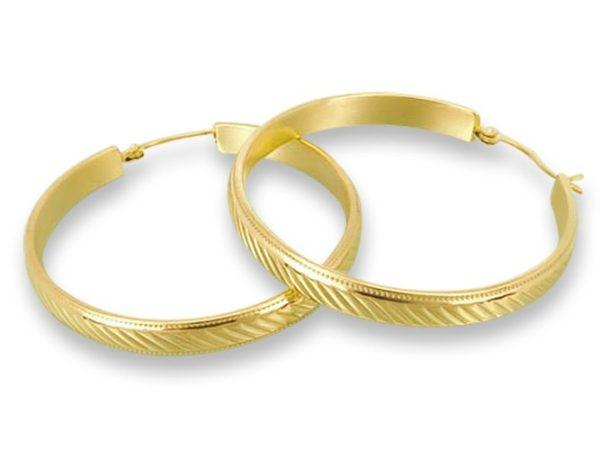 Amanto Oorbellen Destiny Medium Gold - Dames - 316L Staal Goud PVD - Oorring - 5,5 x 48 mm-0