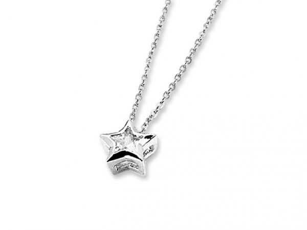 Amanto Ketting Gemma - Dames - 316L Staal PVD - Zirkonia - Ster - ∅8 mm - 50 cm-0