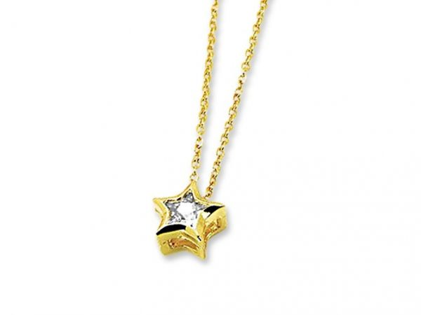 Amanto Ketting Gemma Gold - Dames - 316L Staal PVD - Zirkonia - Ster - ∅8 mm - 50 cm-0