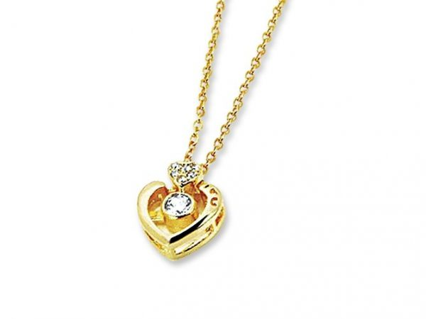 Amanto Ketting Gelina Gold - Dames - 316L Staal PVD - Zirkonia - Hartje - 9x11 mm - 50 cm-0