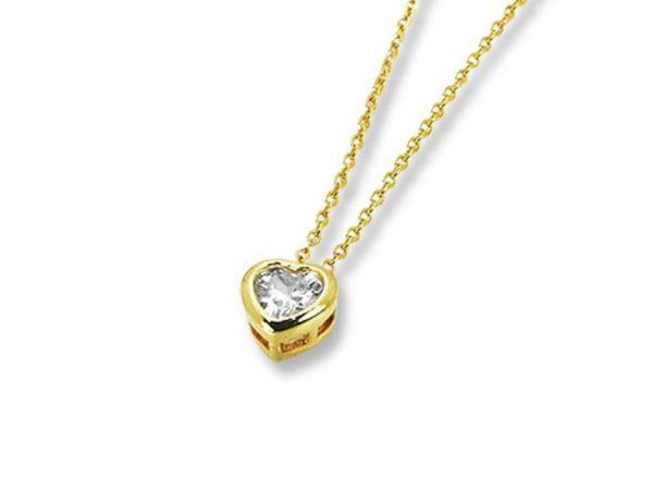 Amanto Ketting Geneva Gold - Dames - 316L Staal PVD - Zirkonia - Hartje - ∅7 mm - 50 cm-0