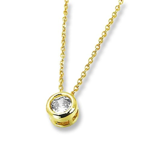 Amanto Ketting Genis Gold - Dames - 316L Staal PVD - Zirkonia - Rondje - ∅7 mm - 50 cm -0