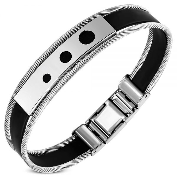 Amanto Armband Geof B - Heren - 316L Staal PVD - Kabel - Rubber - 12 mm - 22 cm-0