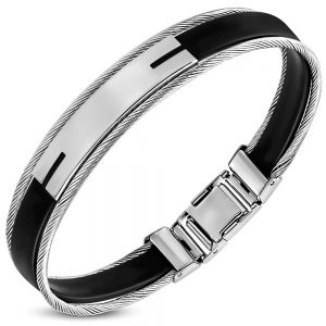 Amanto Armband Geof C - Heren - 316L Staal PVD - Kabel - Rubber - 12 mm - 22 cm-0
