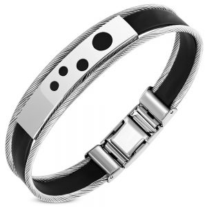 Amanto Armband Geoff F - Heren - 316L Staal PVD - Kabel - Rubber - 12mm - 20cm-0