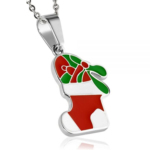Montebello Ketting Christmas - Dames - 316L Staal - Epoxy - Kerst - 37x40mm - 45cm-0