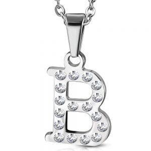 Amanto Ketting Letter B - Unisex - 316L Staal - Alfabet - 20x13mm - 50cm-0