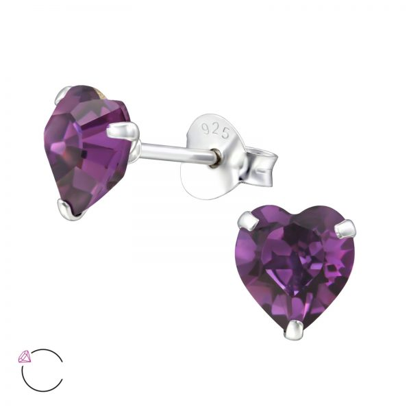 Montebello Oorbellen Efi Purple - 925 Zilver - Swarovski® Hart - Ø6mm-0