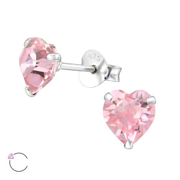 Montebello Oorbellen Efi Pink Light - 925 Zilver - Swarovski® Hart - Ø6mm-0