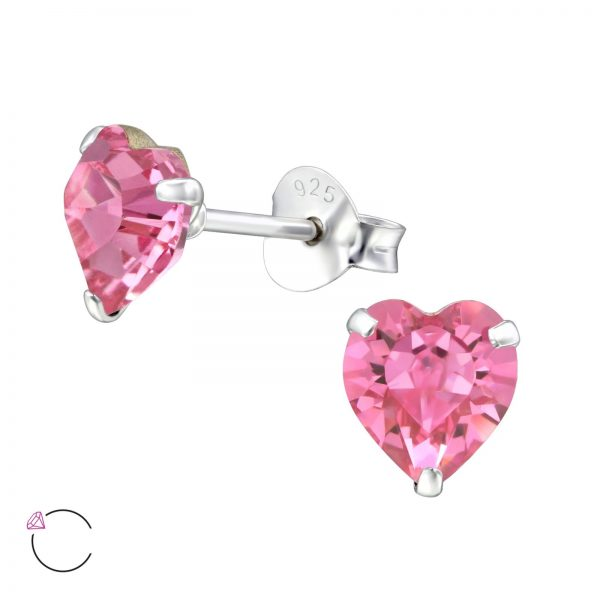 Montebello Oorbellen Efi Pink - 925 Zilver - Swarovski® Hart - Ø6mm-0