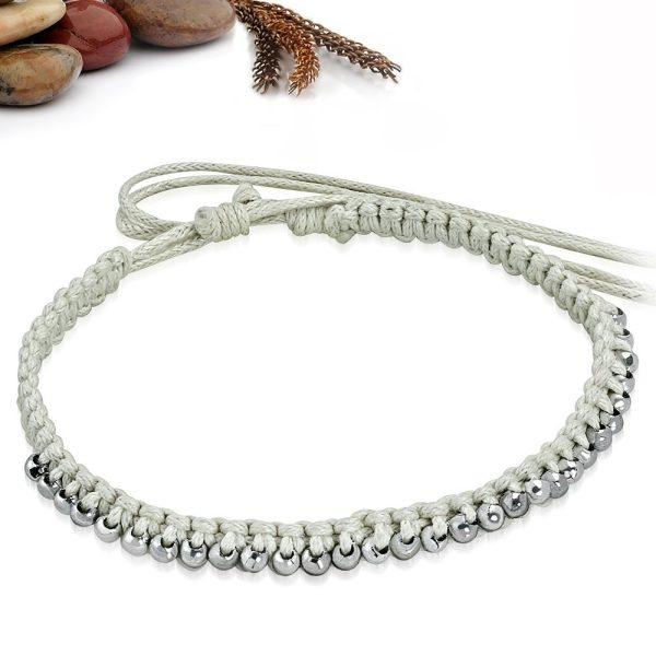 Montebello Armband Anita - Unisex - Touw - Bolletjes - 20cm (aanpasbaar)-26236