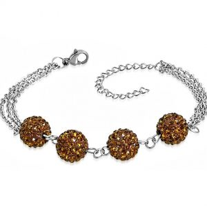 Montebello Armband Aimy Brown - Dames - 316L Staal - Shamballa 10mm - 17+4cm-0