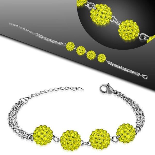 Montebello Armband Aimy Yellow - Dames - 316L Staal - Shamballa 10mm - 17+4cm-26112