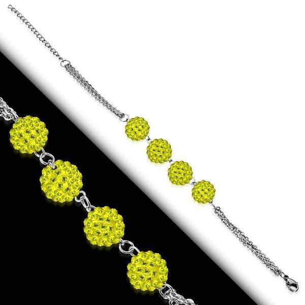 Montebello Armband Aimy Yellow - Dames - 316L Staal - Shamballa 10mm - 17+4cm-26111