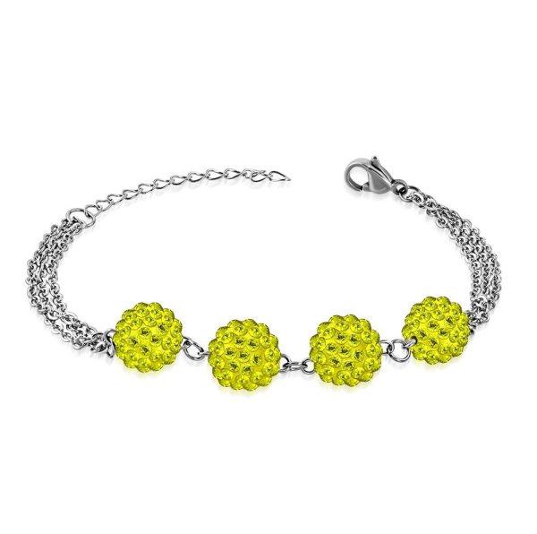 Montebello Armband Aimy Yellow - Dames - 316L Staal - Shamballa 10mm - 17+4cm-0