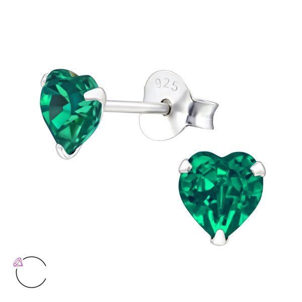 Montebello Oorbellen Libi Green - Dames - 925 Zilver - Swarovski® - Hart - Ø5mm-0