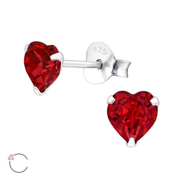 Montebello Oorbellen Libi Red - Dames - 925 Zilver - Swarovski® - Hart - Ø5mm-0