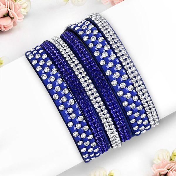 Montebello Armband Ayo Blue - Dames - Fluweel - Strass - 40cm-0