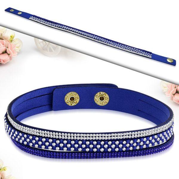 Montebello Armband Ayo Blue - Dames - Fluweel - Strass - 40cm-26222