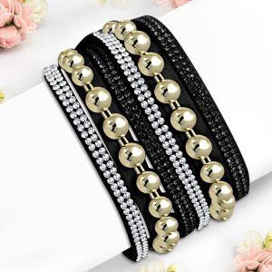 Montebello Armband Aida - Dames - Fluweel - Strass - 40cm-0