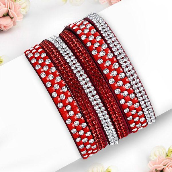 Montebello Armband Ayo Red - Dames - Fluweel - Strass - 40cm-0