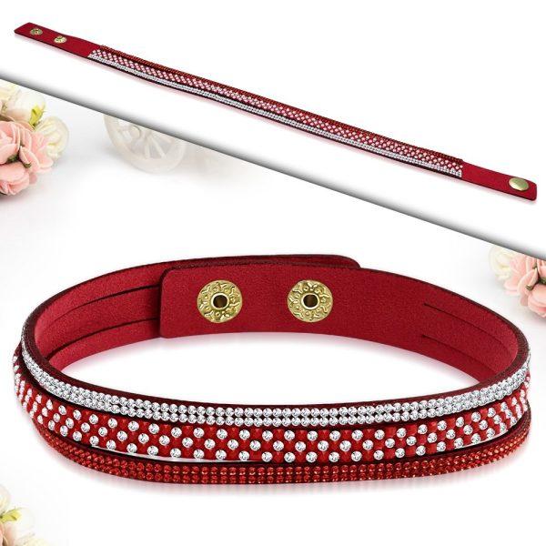 Montebello Armband Ayo Red - Dames - Fluweel - Strass - 40cm-26229